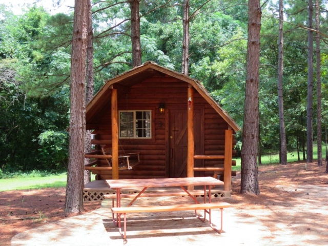 One of the regular wood cabins